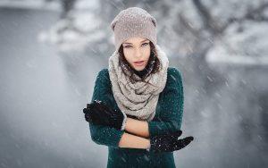 Retrato fotográfico en paisaje de nieve