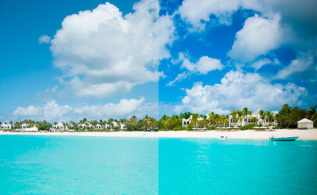 Playa con prueba de filtro