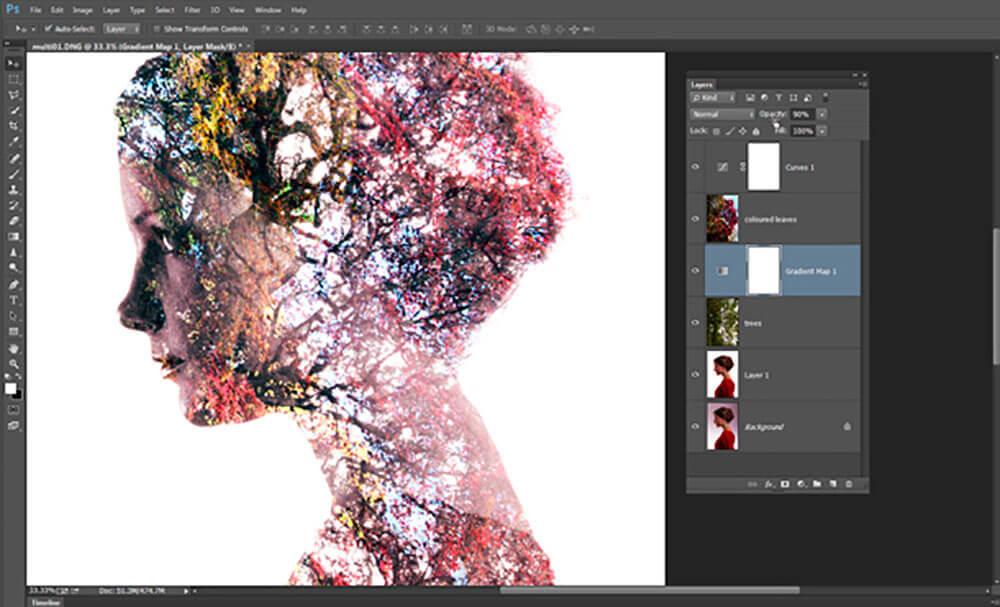 Como montar la doble exposición en photoshop