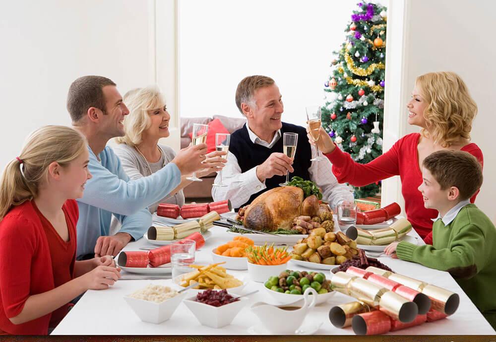Comida familiar en navidad