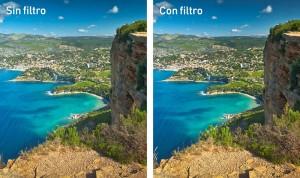 Fotografía con filtro polarizado y sin