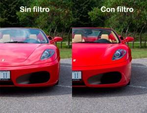 Ejemplo de fotografía polarizada en un coche.