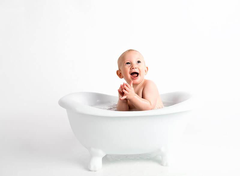 Fotografía infantil con espuma