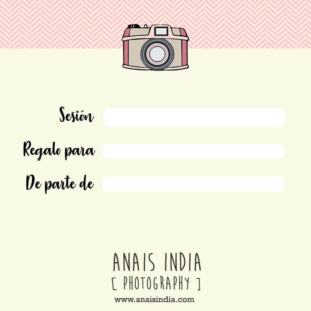 Tarjeta regalo de fotografía