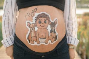 Dibujo personalizado barriga embarazada